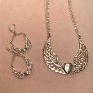 Jewelry - Heart wings angel necklace & earring set
